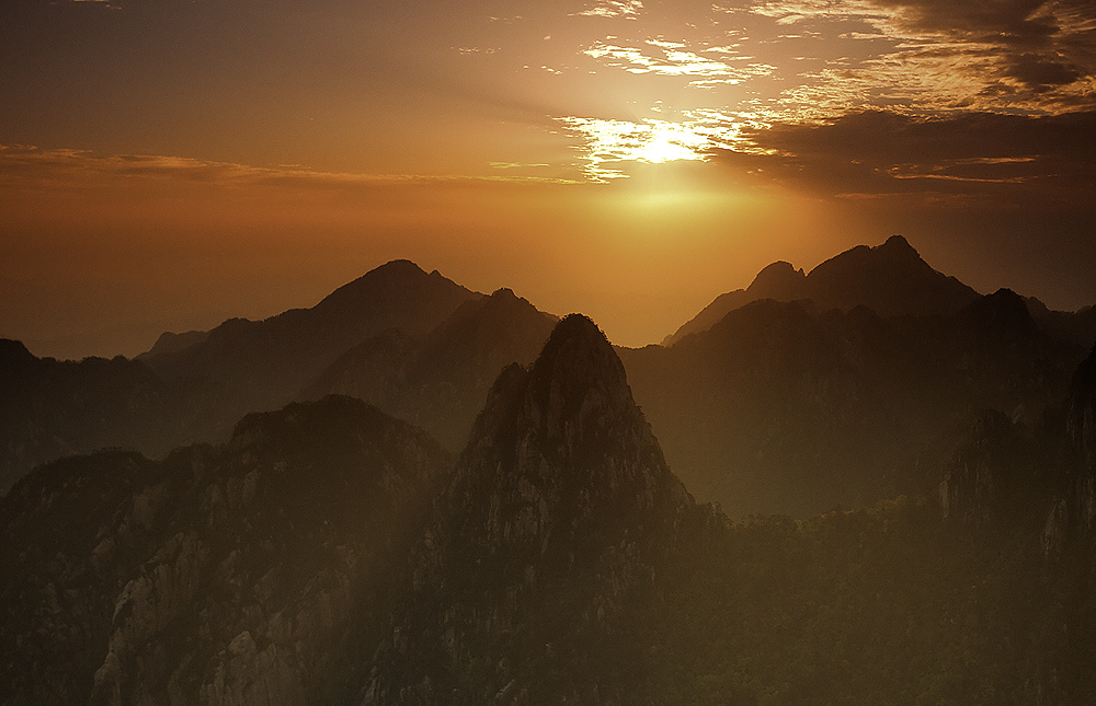 sunrise in huangshan, anhui province, china